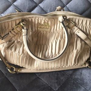 Coach Madison Gathered Leather Bone Satchel